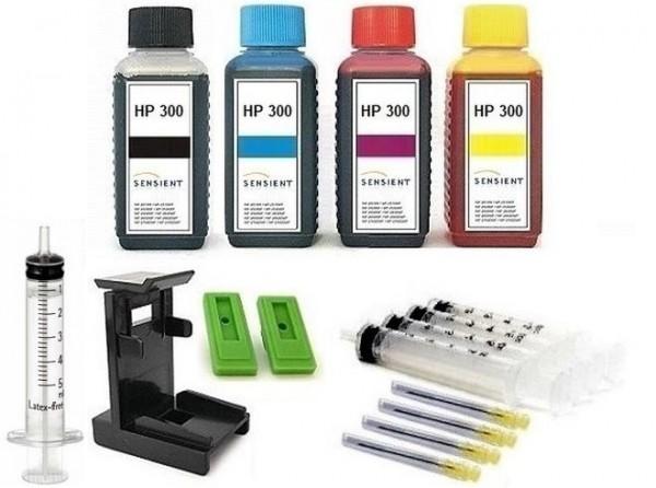 Nachfüllset für HP 300 (XL) black + color Tintenpatronen - 4 x 100 ml Sensient Tinte + Zubehör