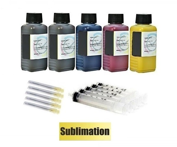 5 x 100 ml Sublimationstinte black, cyan, magenta, yellow - für Epson