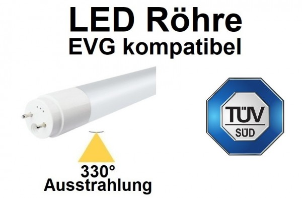 TÜV registriert - 120 cm EVG LED-Röhre T8 - G13, 18 Watt, 330° Ausstrahlung, Neutralweiß 4000K