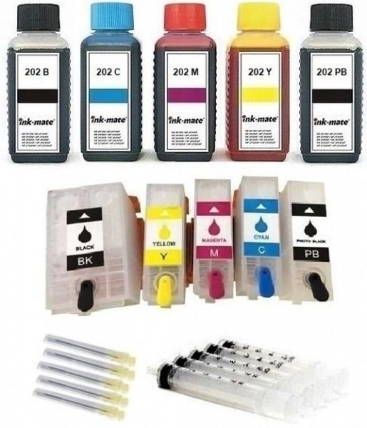 Wiederbefüllbare QUICKFILL-FILL-IN Patronen wie Epson 202, 202 XL + 500 ml INK-MATE Tinten