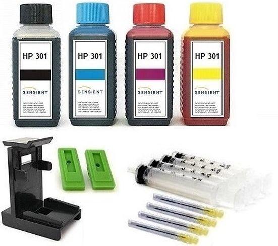 Nachfüllset für HP 301 (XL) black + color Tintenpatronen - 4 x 100 ml Sensient Tinte + Zubehör