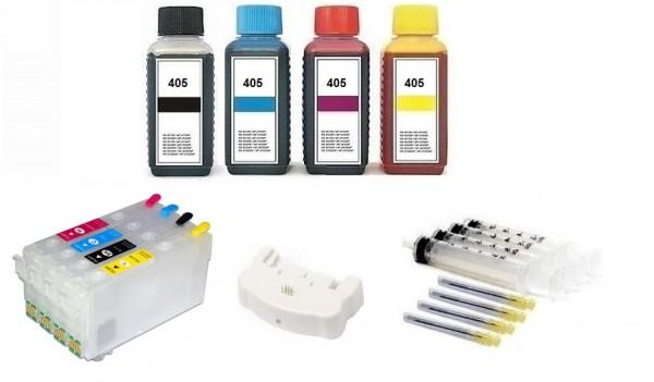 Wiederbefüllbare Patronen wie Epson 405 XL MIT CHIPS + Chipresetter + 400 ml Nachfülltinte