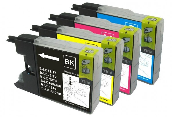 Druckerpatronen Set wie Brother LC-1240, LC-1280 XL black, cyan, magenta, yellow