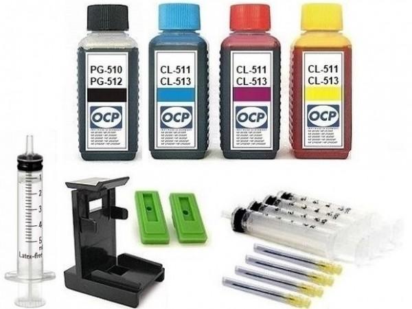 Nachfüllset für Canon Tintenpatronen PG-510, PG-512 + CL-511, CL-513 - 4 x 100 ml OCP Tinte