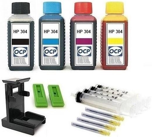 Nachfüllset für HP 304 (XL) black + color Tintenpatronen - 4 x 100 ml OCP Tinte + Zubehör