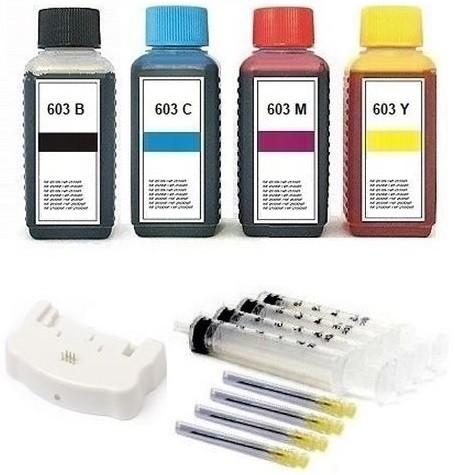 Nachfüllset 400 ml Nachfülltinte + Chipresetter für Epson Tintenpatronen 603, 603 XL