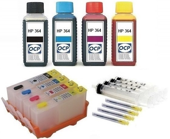 Wiederbefüllbare QUICKFILL-FILL-IN Patronen HP 364 XL - 4 Patronen + 400 ml OCP Tinten
