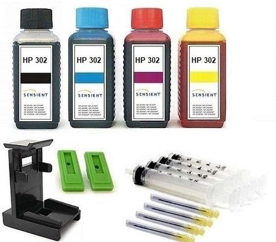 Nachfüllset für HP 302 (XL) black + color Tintenpatronen - 4 x 100 ml Sensient Tinte + Zubehör