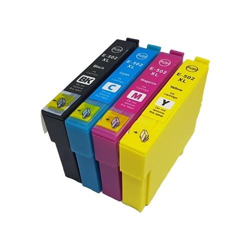 Kompatibles Druckerpatronen-Set Epson 502 XL Black, Cyan, Magenta, Yellow - doppelte XL Füllmengen