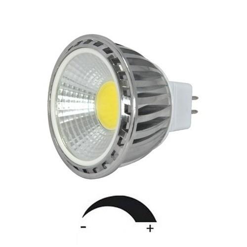5 Watt COB LED-Spot MR16 - GU5.3 Alu, Lichtfarbe warmweiß 2700 K, dimmbar - 90° Ausstrahlung