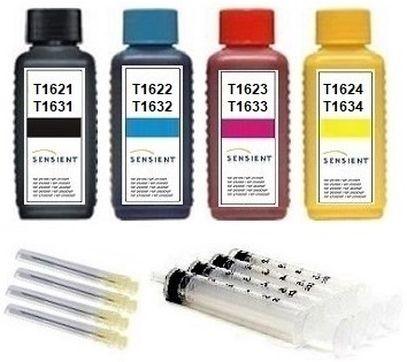 Nachfüllset für Epson Tintenpatronen T1621-T1624, T1631-T1634, T16 XL - 4 x 100 ml Sensient Tinte