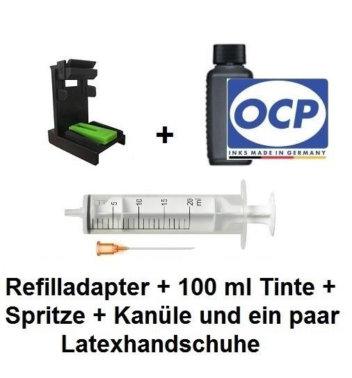 Befülladapter + 100 ml OCP Nachfüll-Tinte BKP 225 schwarz für HP 62 black (XL)