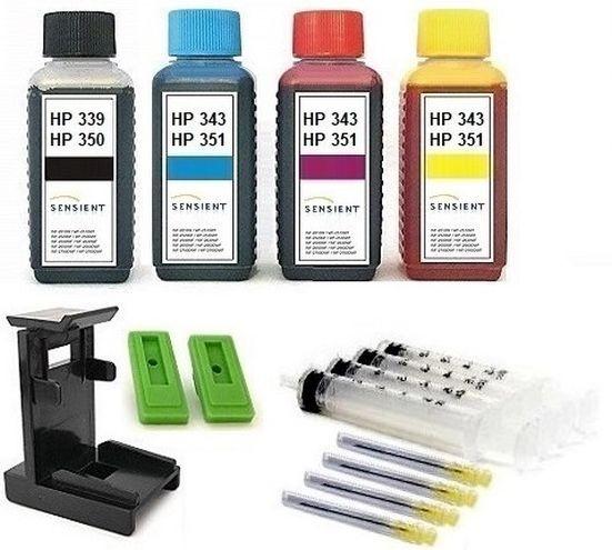 Nachfüllset für HP 336, 337, 338, 339, 342, 343, 344 Tintenpatronen - 4 x 100 ml Sensient Tinte
