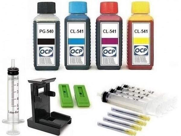Nachfüllset für Canon Tintenpatronen PG-540 (XL) + CL-541 (XL) - 4 x 100 ml OCP Tinte + Zubehör