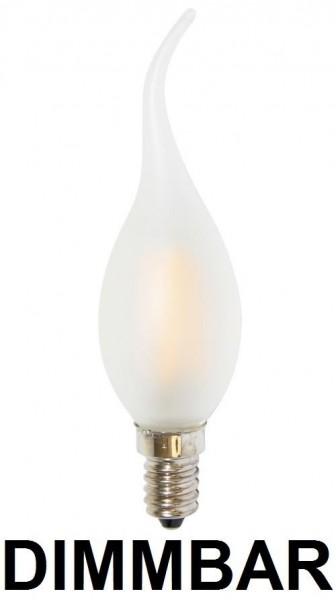 6 Watt Faden Filament LED Lampe, Kerze Windstoß, E14, Lichtfarbe warmweiß 2700 K, Milchglas, dimmbar