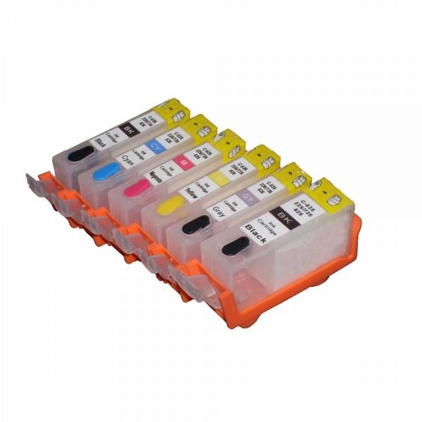 6 wiederbefüllbare QUICKFILL-FILL-IN Patronen wie Canon PGI-525 & CLI-526 mit Auto Reset Chips