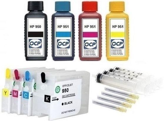 Wiederbefüllbare QUICKFILL-FILL-IN Patronen HP 950 & 951 XL + 4 x 100 ml OCP Tinten
