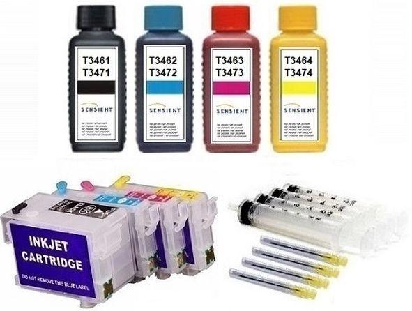 Wiederbefüllbare QUICKFILL-FILL-IN Patronen wie Epson T3471-T3474, T34 XL + 400 ml Sensient Tinten