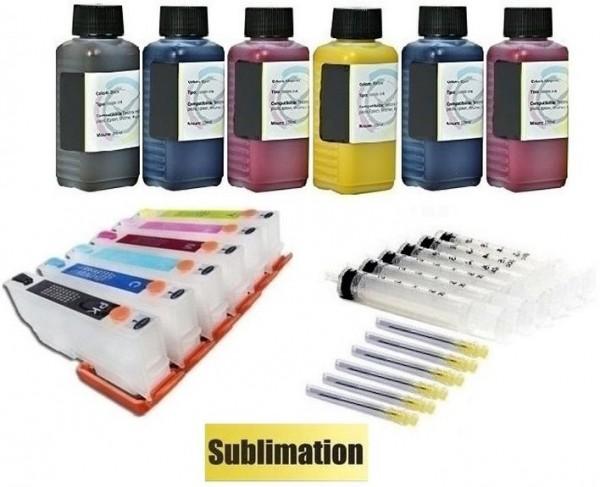 Wiederbefüllbare QUICKFILL-FILL-IN Patronen wie Epson T24 XL + 600 ml Sublimationstinten