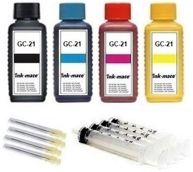 Nachfüllset für Ricoh Tintenpatronen GC-21 black, cyan, magenta, yellow - 4 x 100 ml Tinte + Zubehör