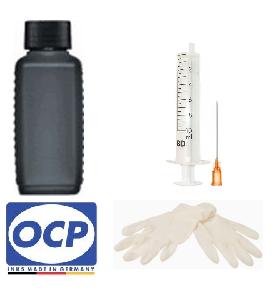 Nachfüllset für HP 62, 302, 303, 304, 934 - 100 ml OCP Tinte BKP 225 Black + Zubehör