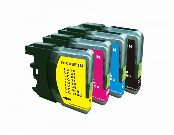 Kompatibles Druckerpatronen-Set Brother LC-980, LC-1100 HY (XL) black, cyan, magenta, yellow
