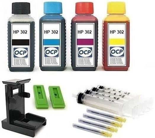 Nachfüllset für HP 302 (XL) black + color Tintenpatronen - 4 x 100 ml OCP Tinte + Zubehör
