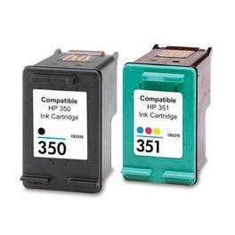 Refill Druckerpatronen Set HP 350 XL schwarz, black & HP 351 XL color - HP CB336EE + HP CB338EE