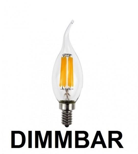 6 Watt Faden Filament LED Lampe, Kerze Windstoß, E14, Lichtfarbe warmweiß 2700 K, Klarglas, dimmbar