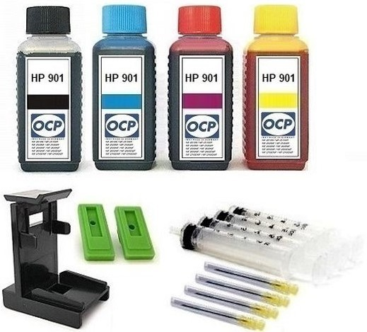 Nachfüllset für HP 901 (XL) black + color Tintenpatronen - 4 x 100 ml OCP Tinte + Zubehör