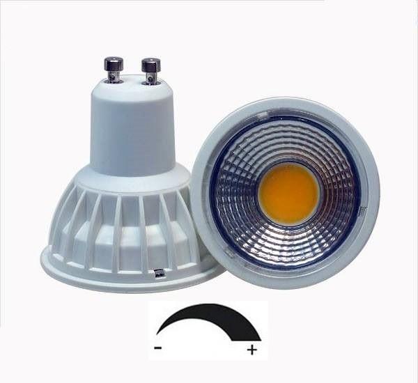 5 Watt COB LED-Spot GU10 Weiß DIMMBAR, Lichtfarbe warmweiß 2700 K, 90° Ausstrahlung