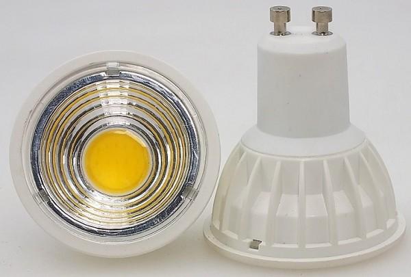 5 Watt COB LED-Spot, GU10, Lichtfarbe warmweiß 2700 K - 90° Ausstrahlung