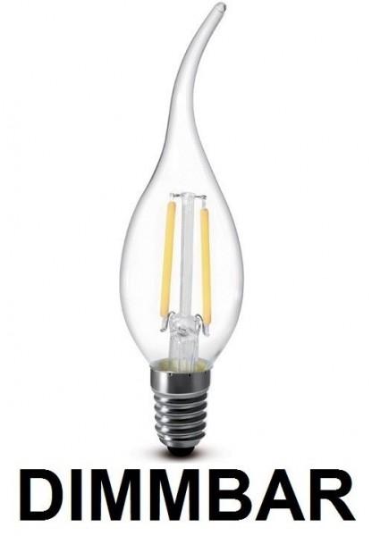 2 Watt Faden Filament LED Lampe, Kerze Windstoß, E14, Lichtfarbe warmweiß 2700 K, Klarglas, dimmbar