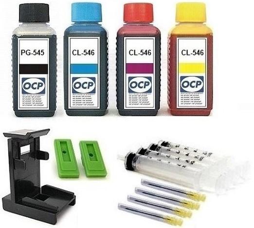 Nachfüllset für Canon Tintenpatronen PG-545 (XL) + CL-546 (XL) - 4 x 100 ml OCP Tinte + Zubehör