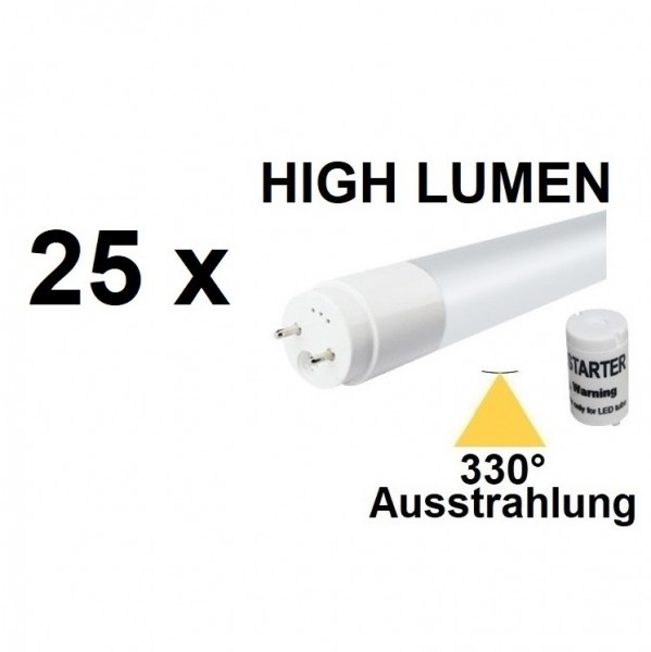 Mit TÜV + GS - 25 x 120 cm LED-Röhre T8 - G13, 18 Watt, 330° Ausstrahlung, Neutralweiß 4000K