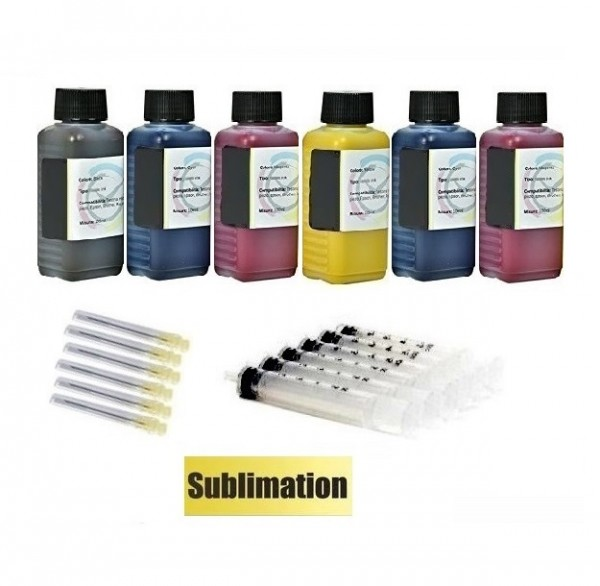 6 x 100 ml Sublimationstinte black, cyan, magenta, yellow, light-cyan, light-magenta für Epson