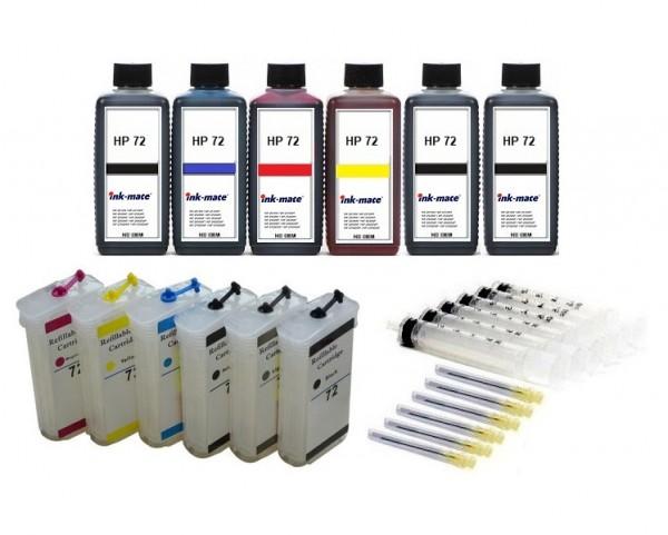 Wiederbefüllbare QUICKFILL-FILL-IN Patronen HP 72 XL + 6 x 250 ml Nachfülltinte