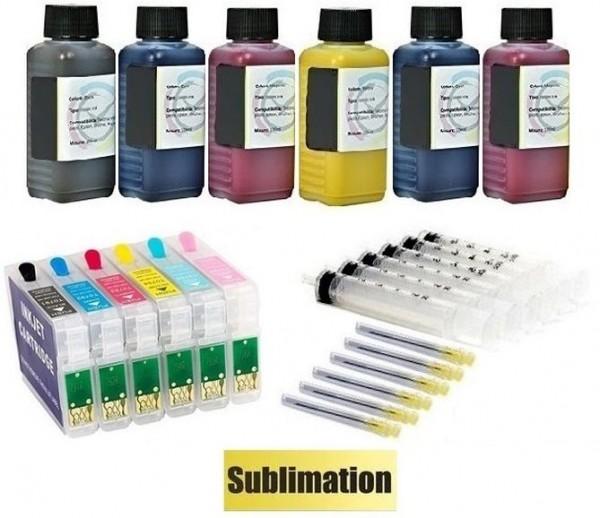 Wiederbefüllbare QUICKFILL-FILL-IN Patronen wie Epson T0801-T0806 + 600 ml Sublimationstinten