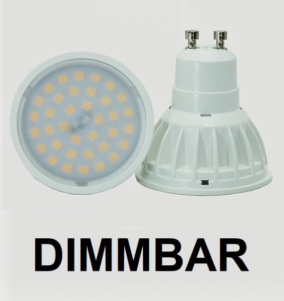 6,5 Watt LED-Spot Weiß, GU10, Lichtfarbe warmweiß 2700 K, dimmbar - 120° Ausstrahlung