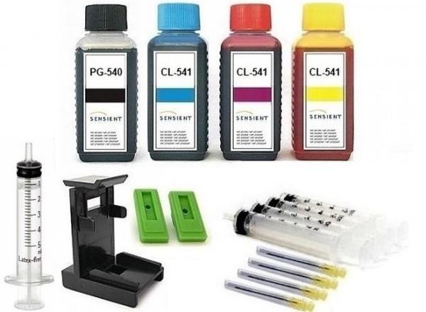 Nachfüllset für Canon Tintenpatronen PG-540 (XL) + CL-541 (XL) - 4 x 100 ml Sensient Tinte + Zubehör