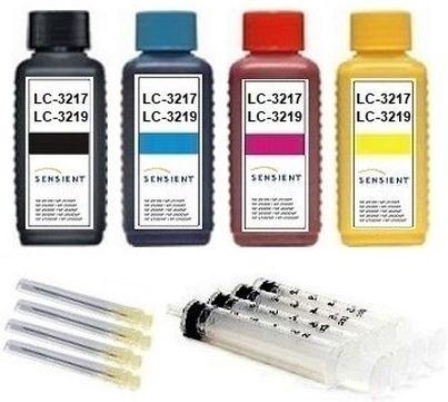 Nachfüllset für Brother Tintenpatronen LC-3217, LC-3219 XL - 4 x 100 ml Sensient Tinte + Zubehör