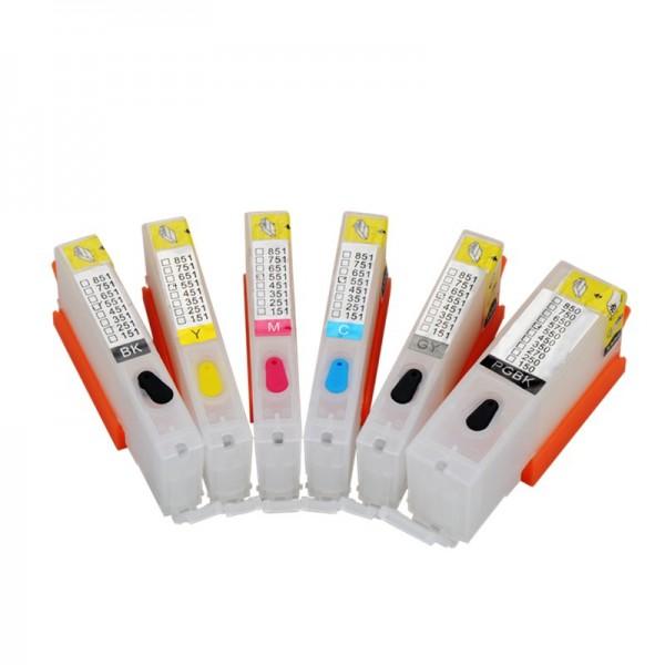 6 wiederbefüllbare QUICKFILL-FILL-IN Patronen wie Canon PGI-550 & CLI-551 mit Auto Reset Chips