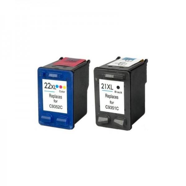 Refill Druckerpatronen Set HP 21 XL black & HP 22 XL color - HP C9351CE + HP C9352CE