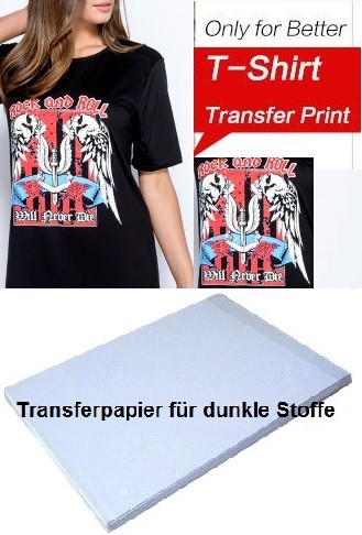 20 Blatt DIN A4 Textil-Transferpapier für dunkle Baumwoll-Stoffe