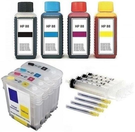 Wiederbefüllbare QUICKFILL-FILL-IN Patronen HP 88 XL + 400 ml Nachfülltinte