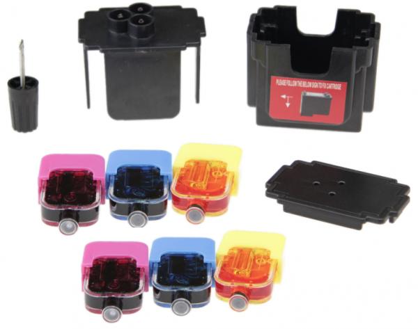 Easy Refill Befülladapter + Nachfüllset für Canon CL-541 color (XL) Patronen
