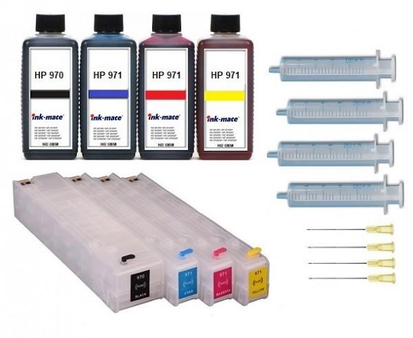 Wiederbefüllbare QUICKFILL-FILL-IN Patronen HP 970 & 971 XL + 4 x 250 ml Nachfülltinte
