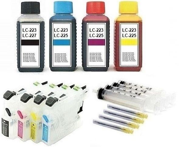 Wiederbefüllbare QUICKFILL-FILL-IN Patronen wie Brother LC-223, LC-225 + 400 ml Nachfülltinte