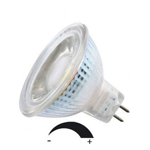 5 Watt Glas-Alu LED-Spot MR16 GU5.3 DIMMBAR, 12V, Lichtfarbe warmweiß 2700 K - 90° Ausstrahlung