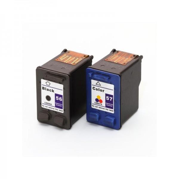 Refill Druckerpatronen Set HP 56 schwarz, black & HP 57 color - HP C6656AE + HP C6657AE